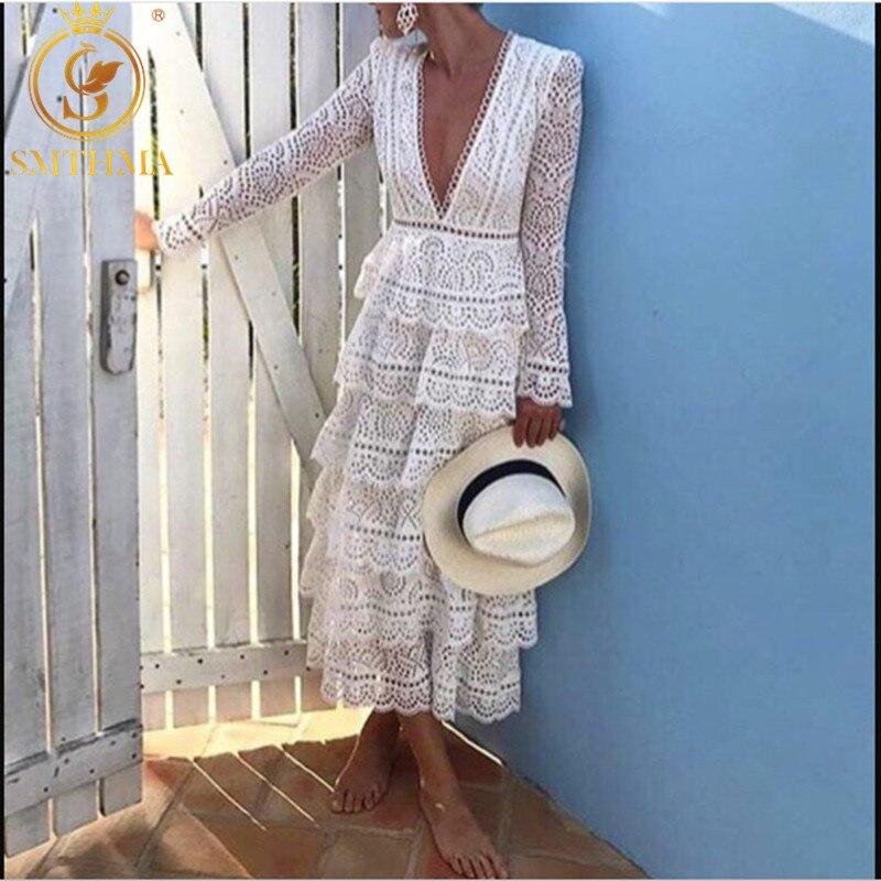 SMTHMA 2019 New Arrive High Quality Luxury Runway White Lace Dress Women Long Sleeve Sexy V-neck Party Dress Vestidos