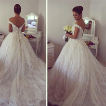 SexeMara Off Shoulder Lace Wedding Dresses Soft Ball Gowns