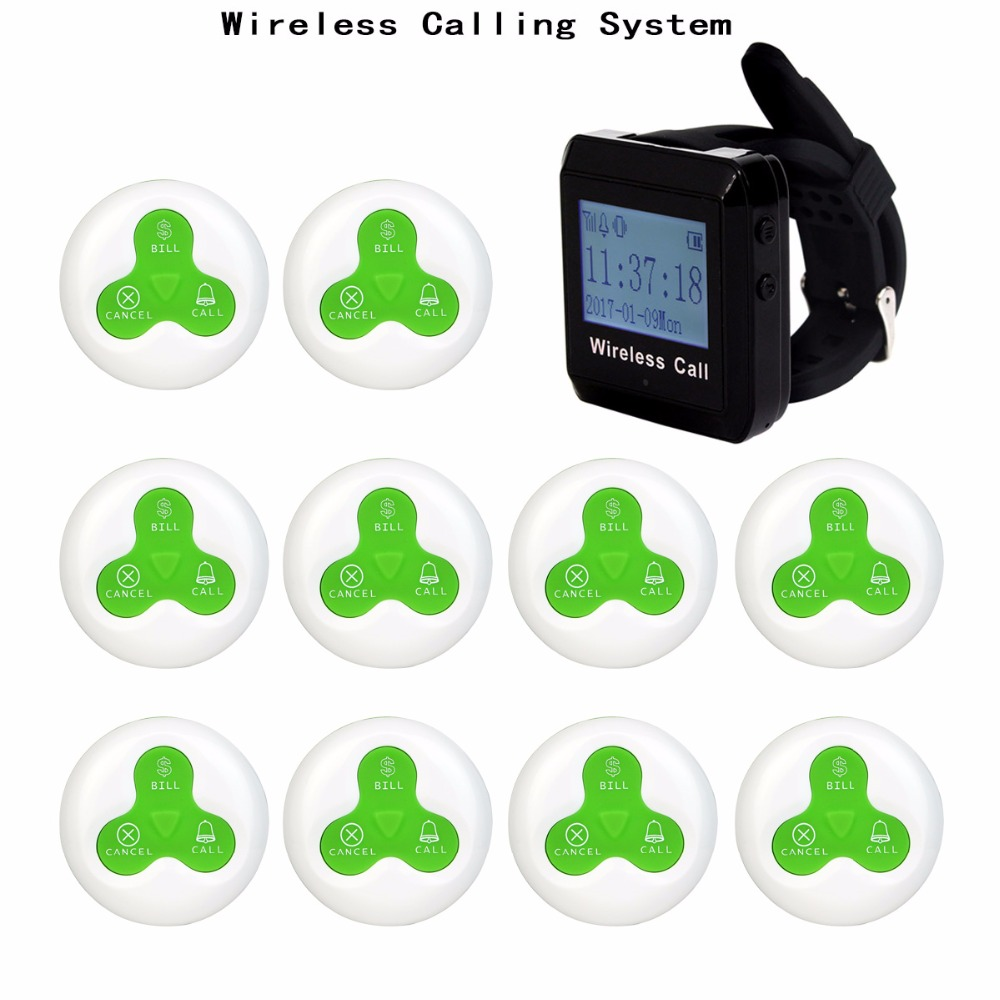 3 color 433MHz Restaurant Pager Wireless Calling Paging System Watch Wrist Receiver Host+10 Call Transmitter Button Pager F3255 wireless guest pager system for restaurant equipment with 20 table call bell and 1 pager watch p 300 dhl free shipping