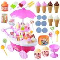 Carro DIY 39 Pcs Mini rosa Loja de Sorvete Doces Das Crianças Das Crianças meninas Pretend Play set Brinquedos Educativos Brinquedo com Lights & Sounds