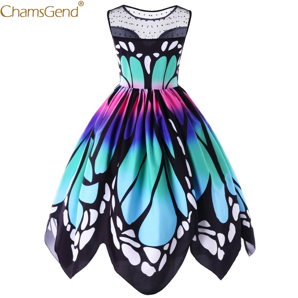 Womens Butterfly Printing formal dress women elegant Multicolor Sleeveless dresses woman party night Vintage Swing Lace Feb2