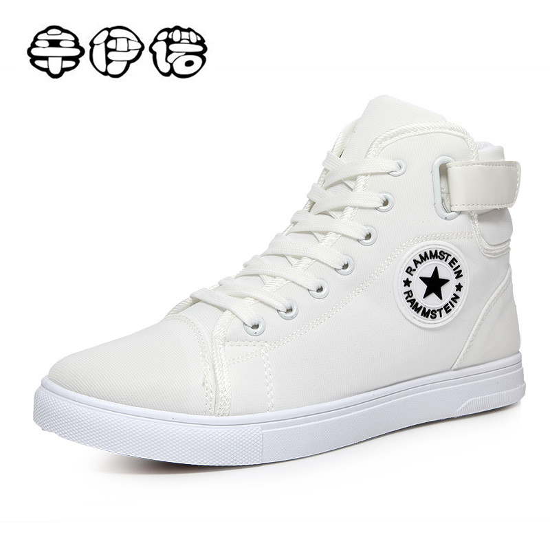 High Quality Men Canvas Shoes 2017 Fashion High top Men's Casual Shoes Breathable Canvas Man Lace up Brand Shoes All White canvas shoes men breathable lace up flats high top men s casual shoes high quality male canvas shoes trainers zapatillas hombre