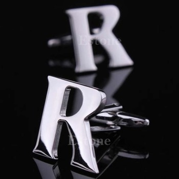 A40 Fashion 1 Pair A to Z Novelty Person Customized Initials Letters Silver Men's Cufflinks