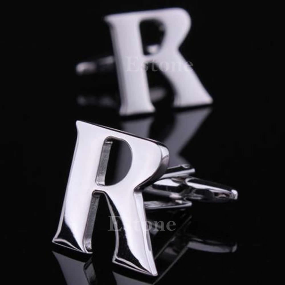 A40 Fashion 1 Pair A to Z Novelty Person Customized Initials Letters Silver Men's Cufflinks free shipping