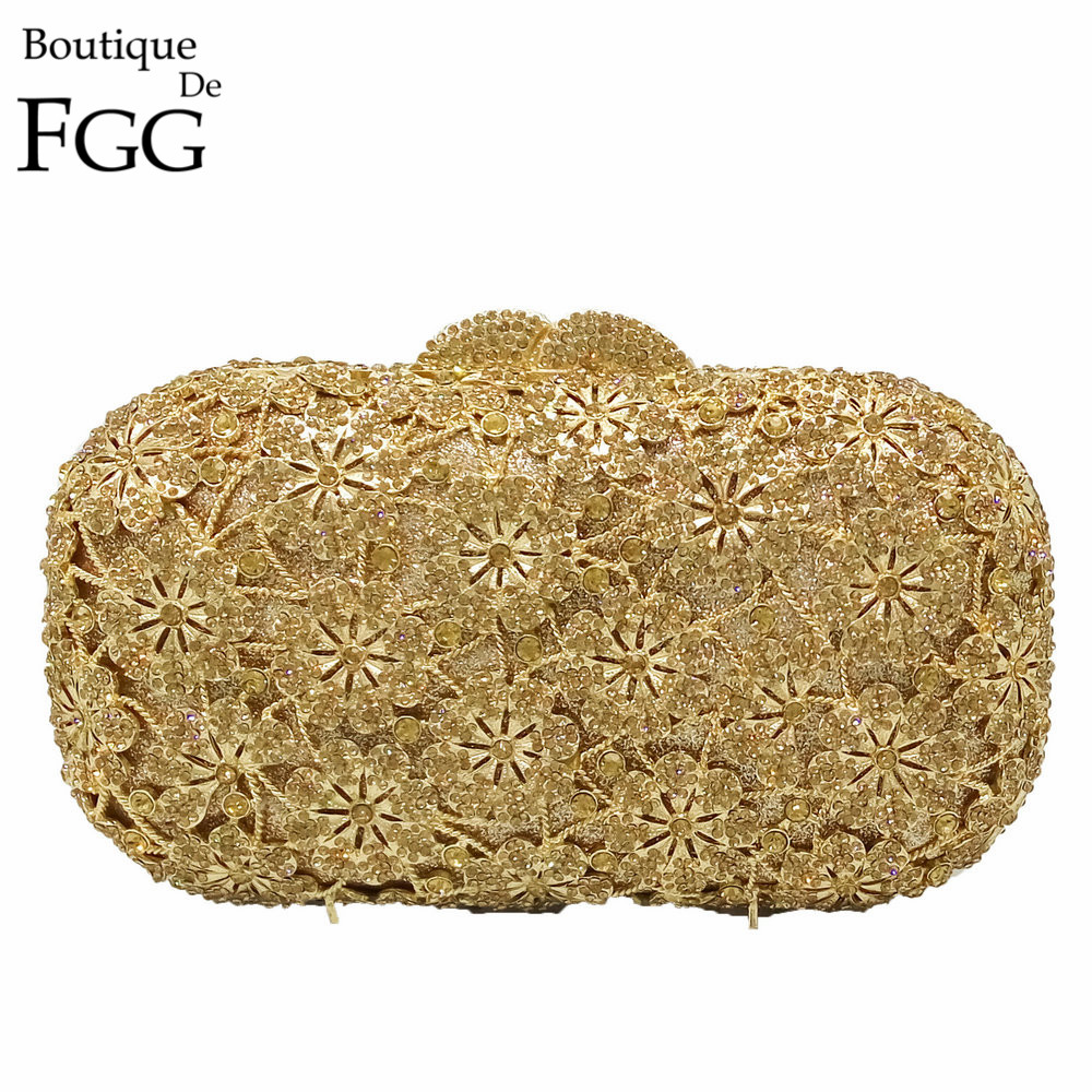 Gorgeous Women Hollow Out Flower Gold Crystal Evening Purse Metal Clutches Ladies Wedding Prom Party Hardcase Handbag Clutch Bag luxury real new arrival day clutches diamonds flower women bag banquet crystal handbag wedding party handbags night clubs purse