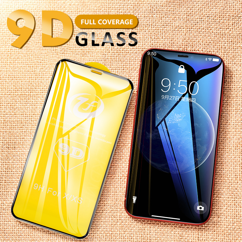 9D Full Cover Tempered Glass For IPhone 6S 6 7 8 Plus X XS Max XR Screen Protector High Clear Toughened Protective Glass