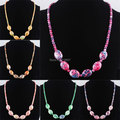 Free shipping Ocean Jasper Oval Beads Necklace Fashion Jewelry 16.5 Inches IBF061