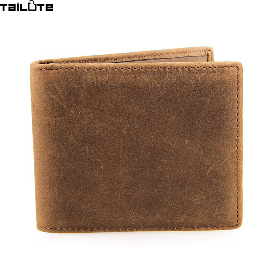 TAILUTE 2017 New Genuine Leather Small Men Wallet Brand Logo Design Fashion Wallets Luxury Dollar Price Short Style Male Purse 2016 new hot sell men wallets hasp short solid color mini wallet male waist hook design dollar price photo holder