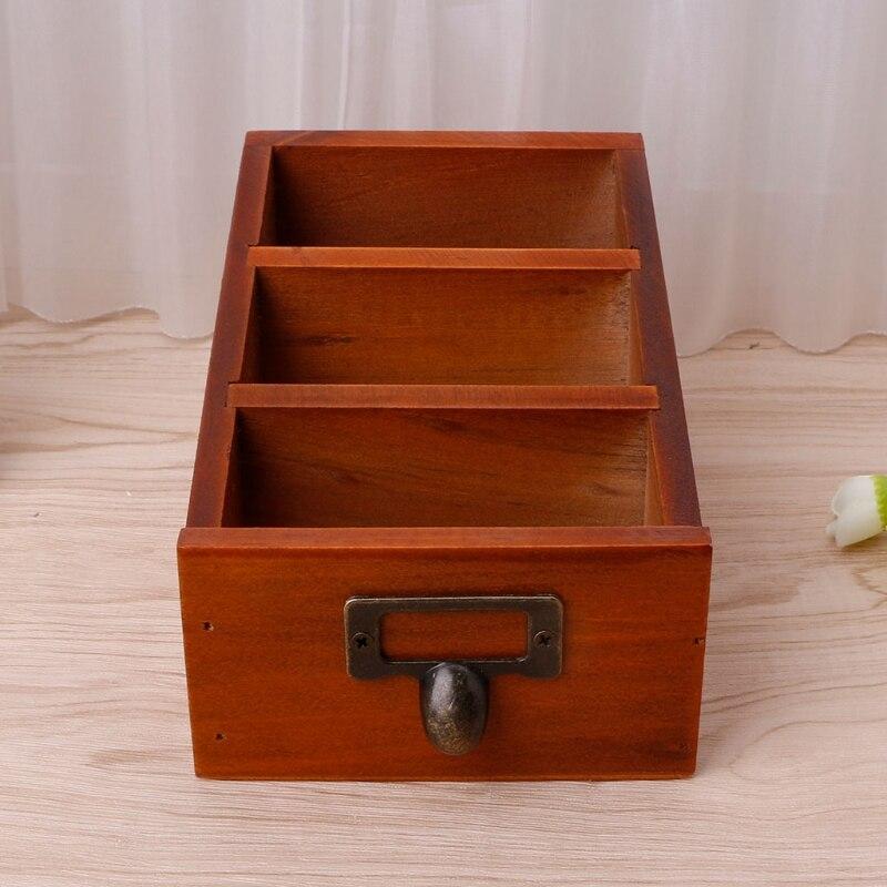 Wooden Desk Makeup Organizer Office Storage Case Holder Pencil Pen Box Make Up Organizer Organizador Storage Box