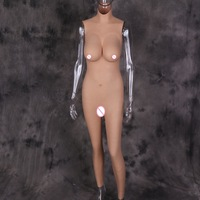 Dokier D Cup Solid Silicone Breast Forms Artificial Fake Vagina Bodysuit for Crossdresser Cosplay Transgender Plate Fake pussy