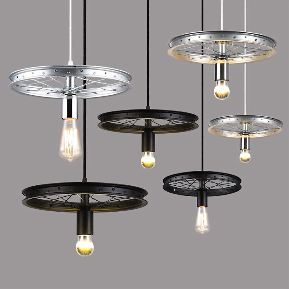 ФОТО LOFT Metal 3 Wheel Pendant Light Vintage Industrial Lighting American Aisle Lights Lamp E27 110V-220V
