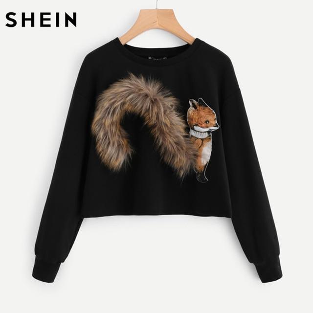 a742141707 SHEIN Faux Fur Fox Patch Sweatshirt Pullover Women Black Long Sleeve Round  Neck Casual Fall 2017