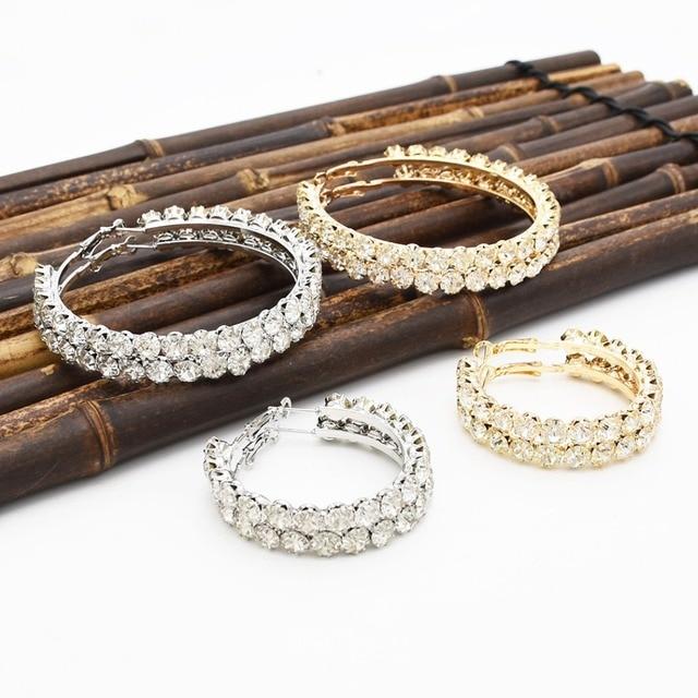 European Fashion Large Big Pendant Crystal Rhinestone Stud Earring Gold  Silver Metal Hoop Earrings for Women Circle Ears Jewelry 98dfe5d58bf9