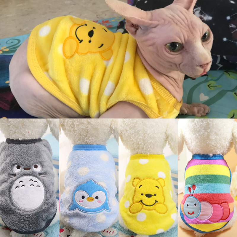 Warm Cat Clothes Autumn Winter Pet Clothing For Small Cats Dogs Cartoon Cat Costumes Soft Fleece Kitten Kitty Coat Jacket Outfit girl