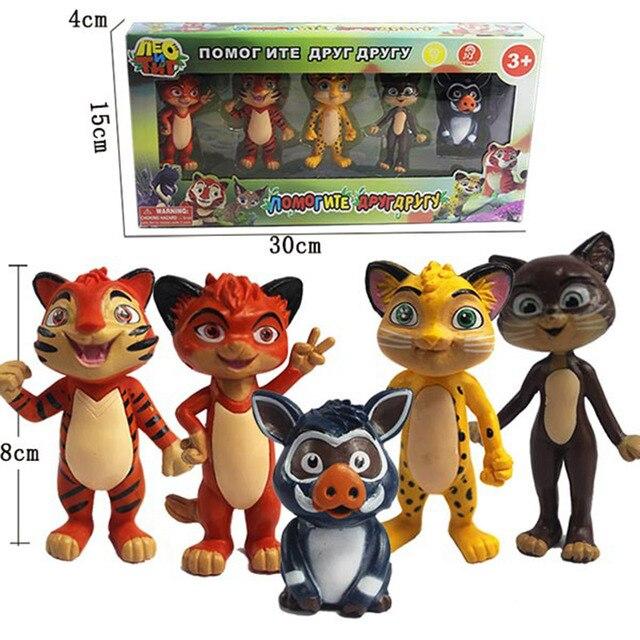 5 шт./компл. русские аниме Leo & Tig Juguetes ПВХ фигурки тигра леопарда братьев модель игрушки куклы, детский подарок