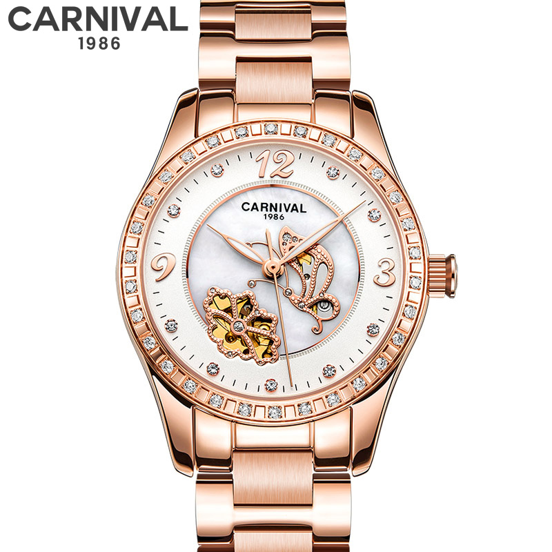 Carnival Brand Luxury Women Watches Automatic Machinery Rhinestone Steel Band Fashion Rose gold Ladies Watches best gift RelogioCarnival Brand Luxury Women Watches Automatic Machinery Rhinestone Steel Band Fashion Rose gold Ladies Watches best gift Relogio