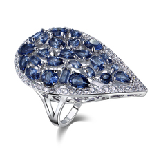 Big Water Drop Shape Ring Platinum Plated Pave setting 5 Colors CZ Platinum plated Crystal Zirconia Ring Big