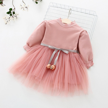Fashion stitching Baby Girl Dress Long sleeve spring Dresses for 0-24 month Girls Clothes Vestido Infantil Newborn Baby Clothing 2