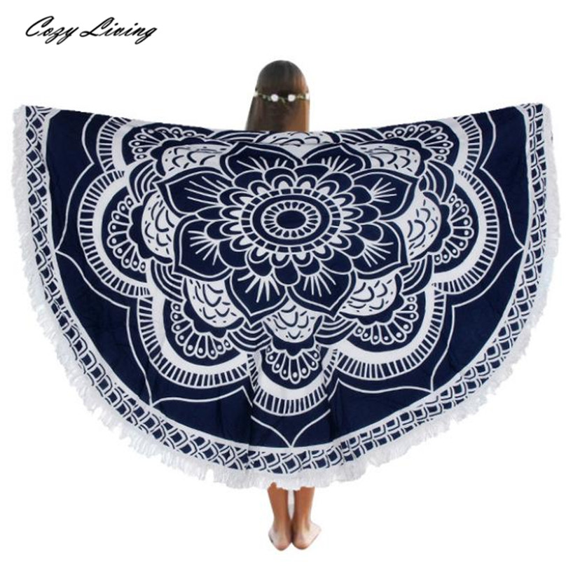 Table Cloth Round 1 PC Beach Pool Home Shower Towel Blanket Table Cloth Yoga Mat 150CM Retro Floral Tablecloth Wholesale 30JE28
