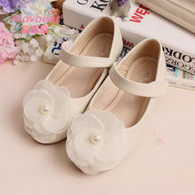 Spring Autumn Girls Wedding Shoes Floral Princess Girls Leather Shoes Children Low-heeled Shoes Dress Shoes For Girls Party