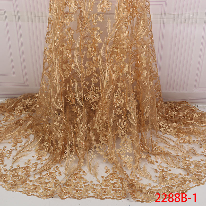 Mesh Lace Trim Latest African Laces 2019 Beads Red Lace  Embroidery Gold Lace Fabric Bridal Lace For Nigerian Dresses QF2288B  1Lace