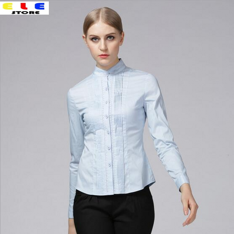 Spring 2016 Fashion Women Shirts Elegant Lace Patchwork Womens Shirt Tops Formal Blouses Ladies Office Casual Long Sleeve Blouse