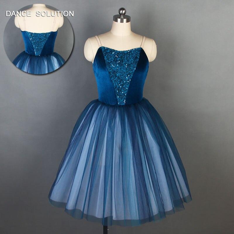 Azul marinho veludo elastano corpete com longo ballet dança tutu collant vestido de palco traje feminino bailarina tutu vestido 19336
