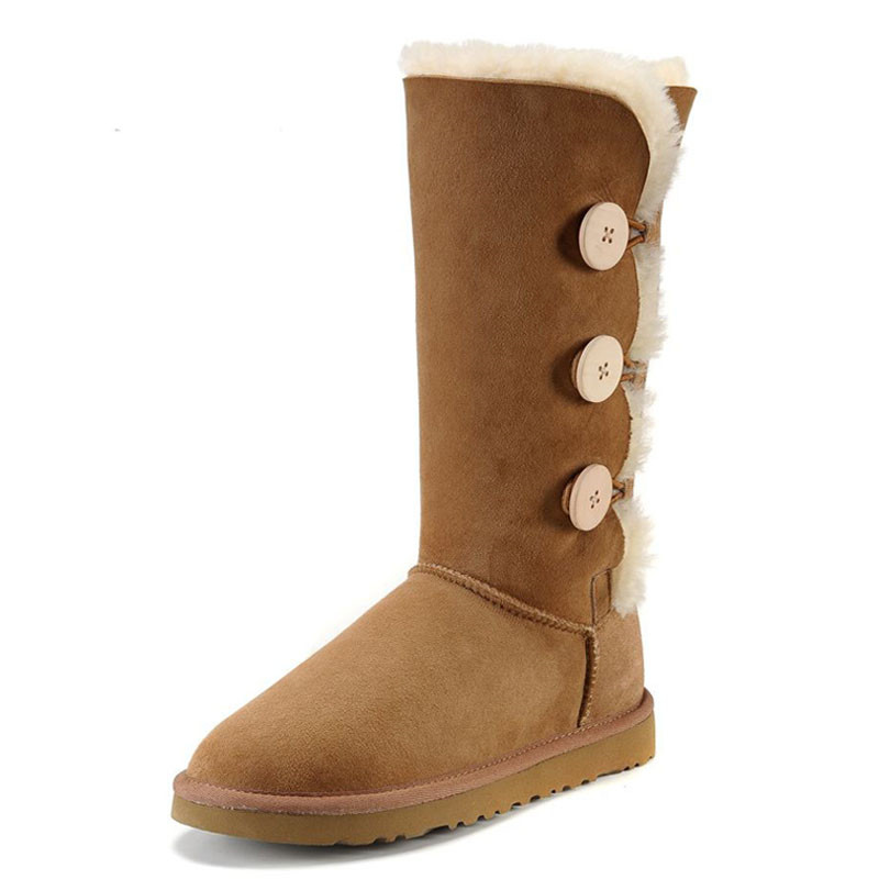 2017 Australian Classic Style Women Snow Boots Genuine Leather Round Toe 100% Natural Fur Woman Warm Wool Mid-Calf Winter Boots prova perfetto winter women warm snow boots buckle straps genuine leather round toe low heel fur boots mid calf botas mujer