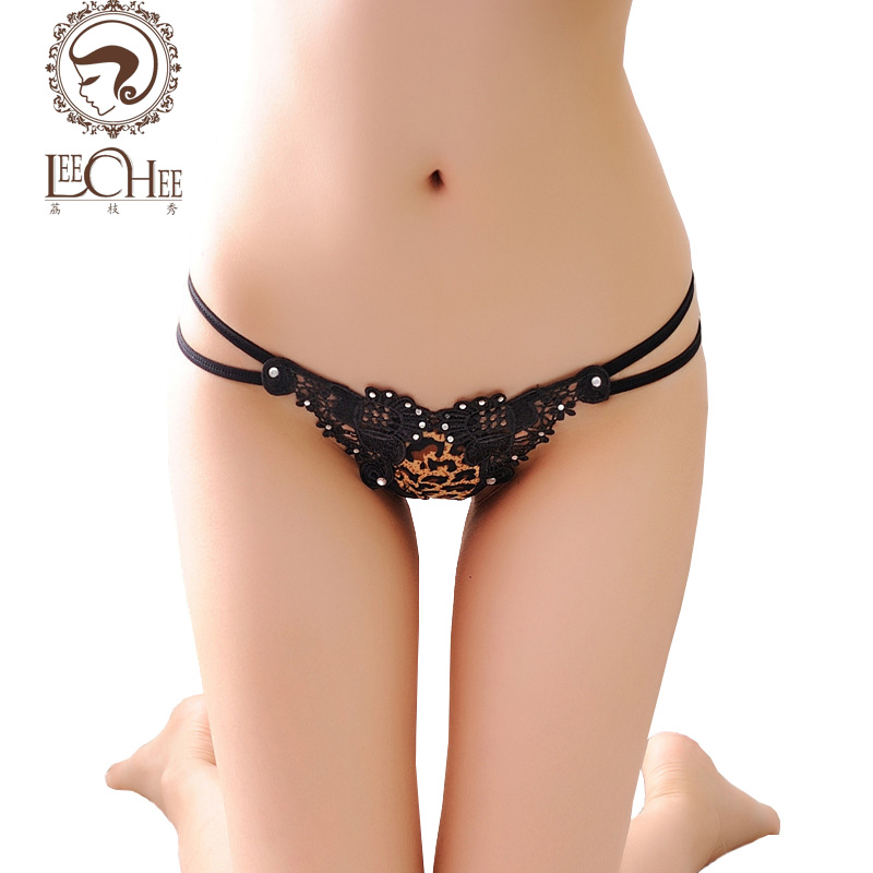 Leechee N225 latex lingerie sexy hot erotic sex lace Women underwear Leopard sexy thong temptation low waist briefs porn custom