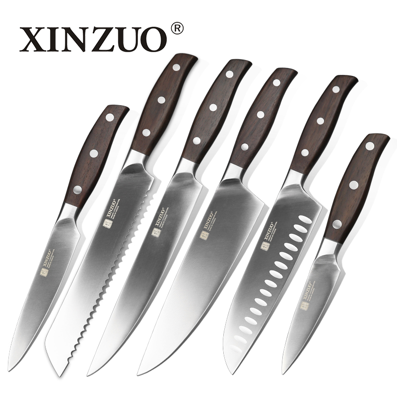 XINZUO Kitchen Tools 6 PCs Kitchen Knife Set Utility Cleaver Chef Bread Knives Stainless Steel Kitchen Knife Sets Cooking Knife