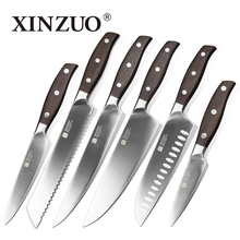 hot deal buy xinzuo kitchen tools 6 pcs kitchen knife set utility cleaver chef bread knife stainless steel kitchen knife sets free shipping