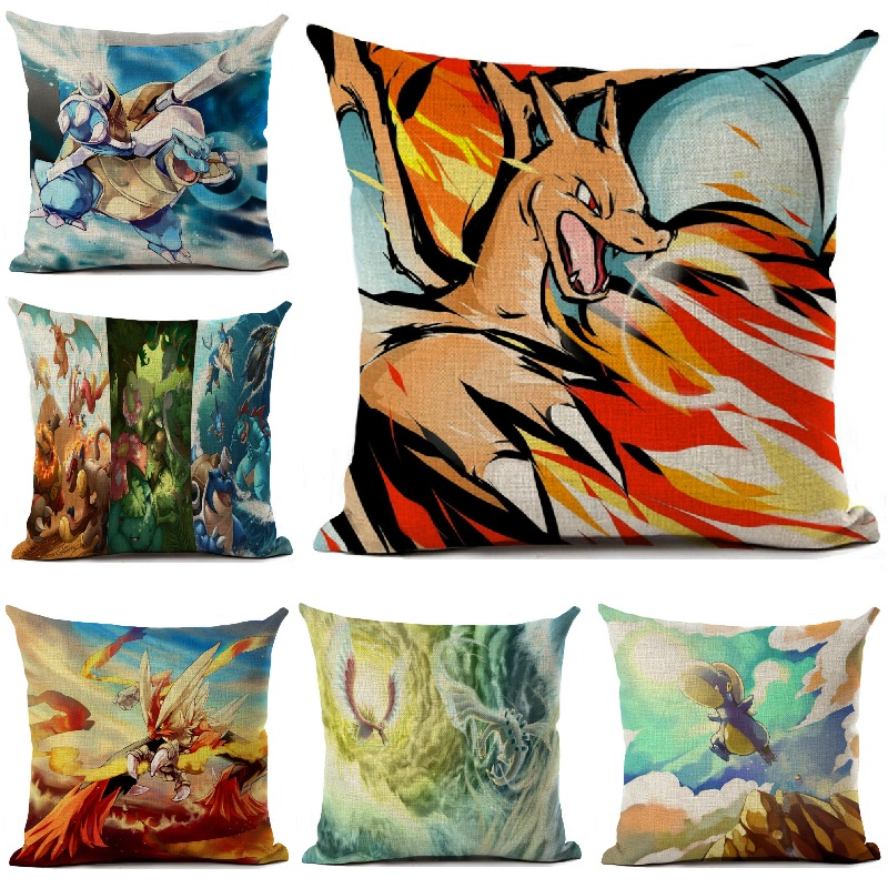 Pokemon Cushion Cover Linen Cartoon Printed Throw Pillow Cover For Sofa Car Home Decoration Anime Pillowcase 4545cm