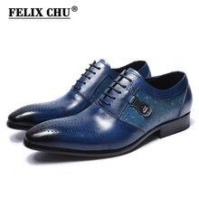 FELIX CHU Italian Designer Print Genuine Leather Men Oxford Dress Shoes Male Party Wedding Office Black Blue Brogue In Flats