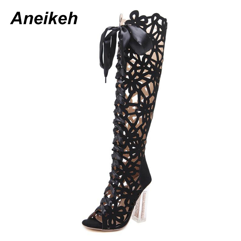 Aneikeh 2018 Gladiator Women Sandals Ankle Strap Open Toe Shoes Lace Tassel Wedding Women Sandals Party Ladies Sandals Heels Red