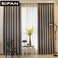 Japan Solid Color Faux Linen Blackout Curtains For Living Room Bedroom Modern Curtains Window Curtains For