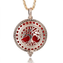 MODKISR Hollow Golden Tree Of Life Box Aromatherapy Diffuser Locket Necklace Essential Oil Diffuser Magnetic Opening Necklace(China)