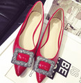 Size 3~12 Plus Size 2017 New Casual Women Shoes Elegant Red Party Women Flats Hot Pointed Toe Black Women Shoes