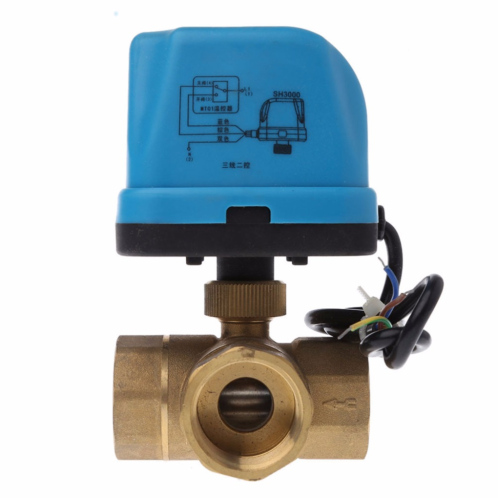 Electric Motorized Brass Ball Valve DN25 AC 220V 3 Way 3-Wire with Actuator #1A50925#