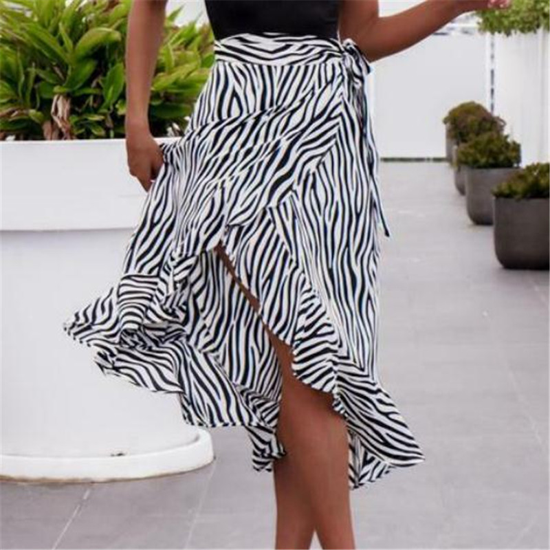 Women's Wrap Sarong Long Skirt Zebra-Striped Beach Bohemian Skirts Ladies' New Sexy Fashionable Long Bottom Custume Hot Serlling