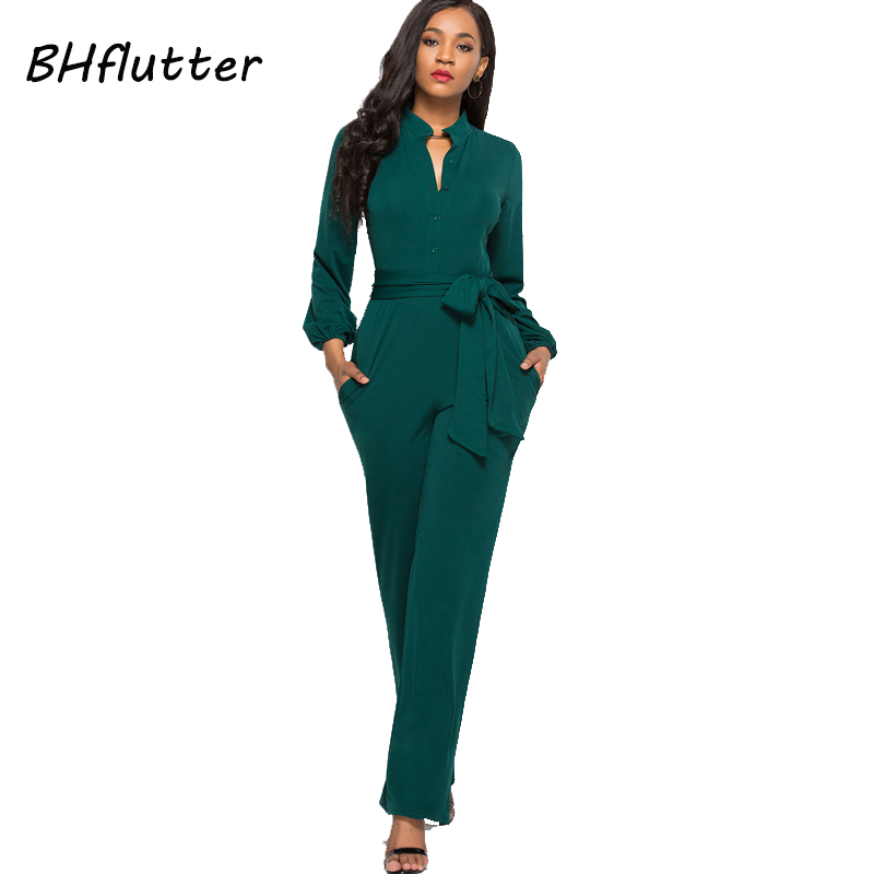 BHflutter Jumpsuit Women Romper 2018 New Style Buttons Casual Overalls Long Sleeve Autumn Winter Jumpsuits Full Pants Plus Size 1