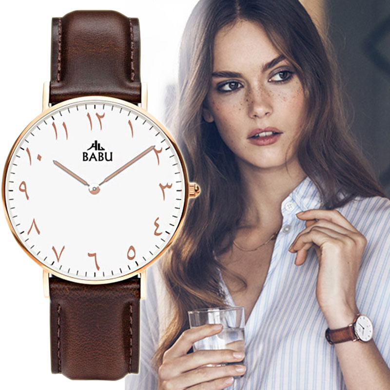 Ladies Watch Gold Stylish Watch Men Women Arabic Number New Design Montre Femme Genuine Leather Strap Vintage Clock Man Hodinky