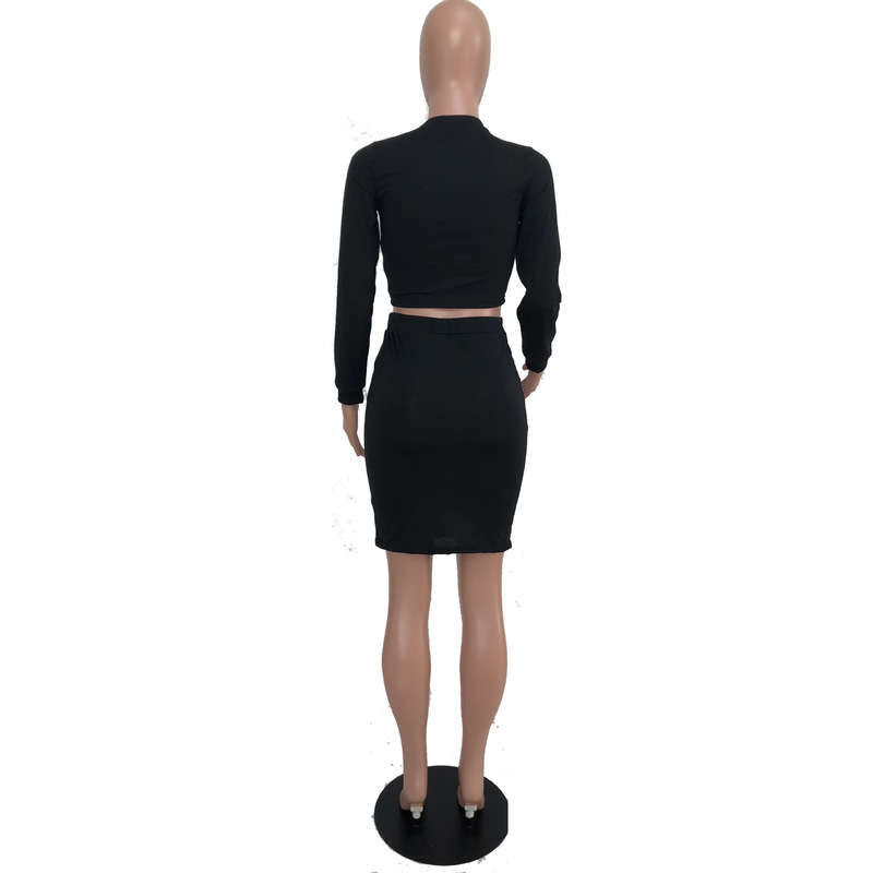 Hole Hollow Out Sexy 2 Piece Matching Set Women O Neck Long Sleeve Crop Top+Bandage Mini Skirts Suits Casual Two Piece Tracksuit