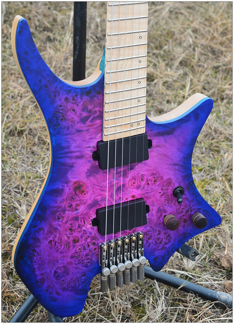 NK Headless guitar, Fanned Frets, Blue/Purple Color Eye, Poplar top, Flame maple Neck