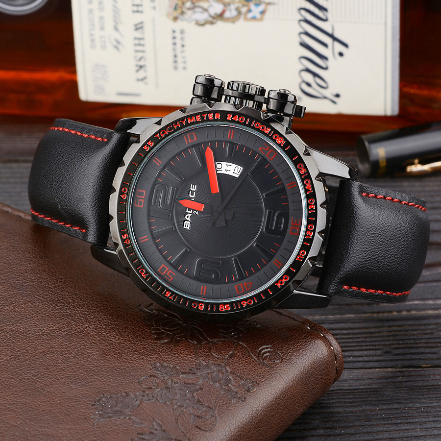 BADACE Luxury Brand Sport Men Watch Leather Band Mens Quartz Watches Casual Male Clock Business Waterproof Wristwatch 2101 mens watch top luxury brand fashion hollow clock male casual sport wristwatch men pirate skull style quartz watch reloj homber