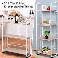 Giantex Set of 2 Folding Shelves Organization 3/4 tier Storage Utility Standing Rack Modern furniture HW56265+HW56266