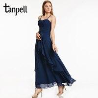 Tanpell Long Evening Dress Dark Navy Sleeveless Spaghetti Straps A Line Ankle Length Gown Women Prom