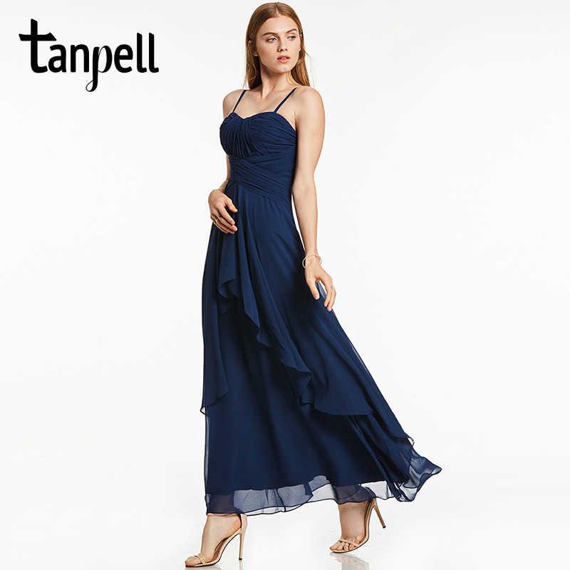 Tanpell Длинные вечернее платье темно-синий без рукавов бретельках линии  Щиколоток Платье Женщины Пром Формальное 57e22b52d9e