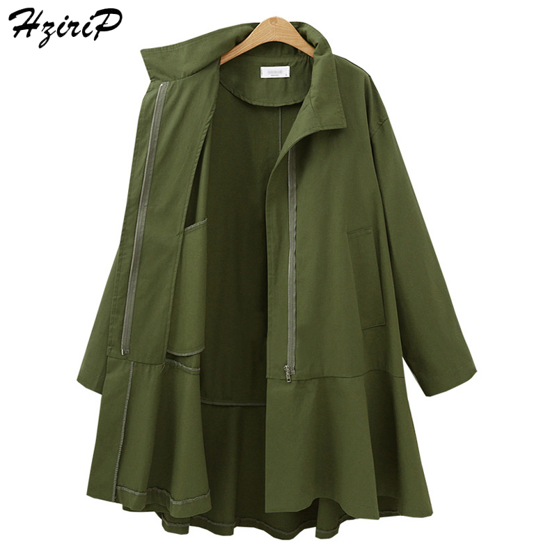 HziriP Women   Trench   Plus Size Loose Coat Autumn Solid Color Tops Windbreaker 2017 Spring Full Sleeve Casual Ladies Clothing