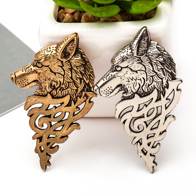 Vintage Gold Silver brooch pins alloy wolf head collar brooches for women broches jewelry fashion lapel pin men mujer animales