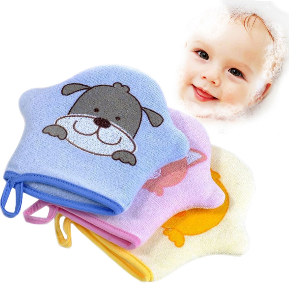 3Colors Cartoon Super Soft Cotton Baby Bath Shower Brush Cute Animal Modeling Sponge Powder Rubbing Towel Ball for Baby Children